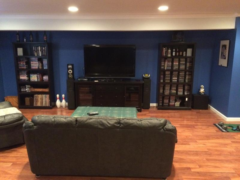 tv viewing area in completed basement- Oxford, Mi