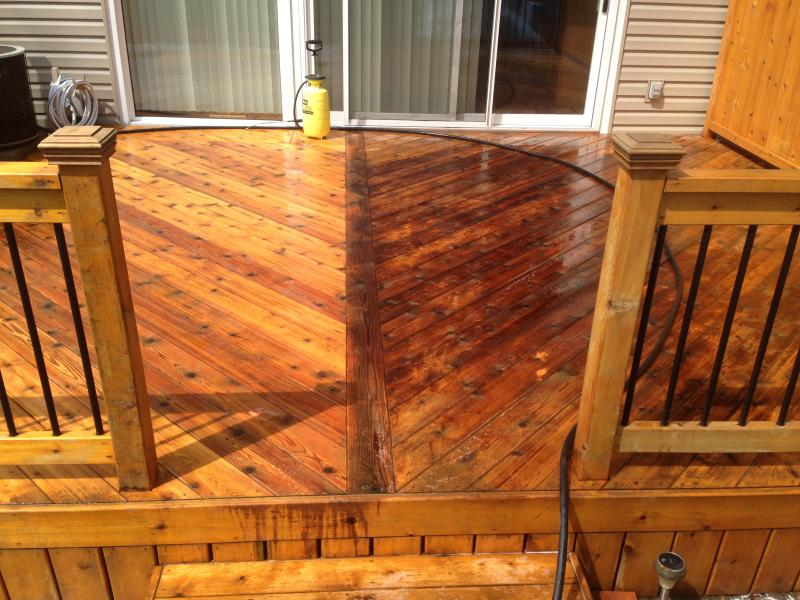 half finished deck cleaning